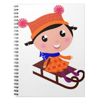 Ice skating girl Orange Notebooks