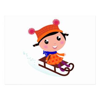 Ice skating girl Orange Postcard