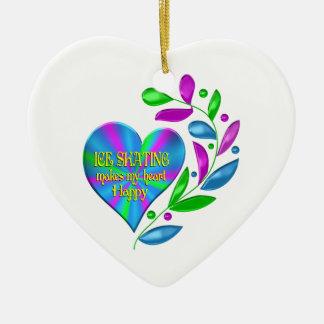 Ice Skating Happy Heart Ceramic Heart Ornament