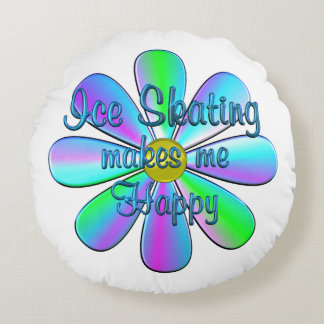 Ice Skating Happy Round Pillow