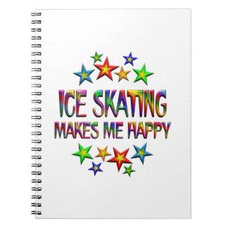 Ice Skating Happy Spiral Notebooks