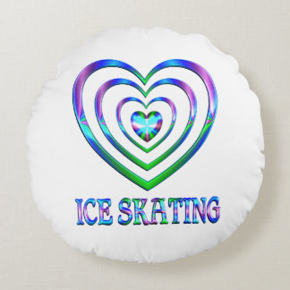 Ice Skating Hearts Round Pillow