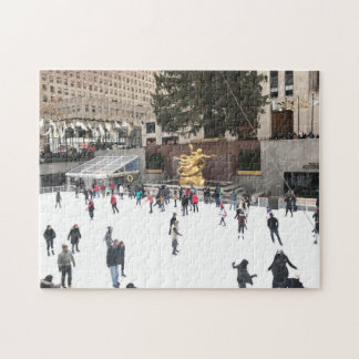 Ice Skating in Rockefeller Center NYC Christmas Jigsaw Puzzle