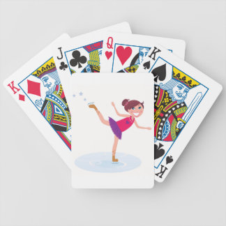 Ice skating kid on white bicycle playing cards