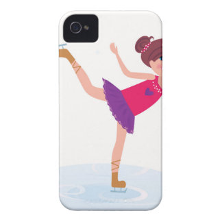 Ice skating kid on white iPhone 4 cover