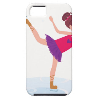 Ice skating kid on white iPhone 5 case