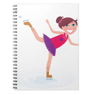 Ice skating kid on white notebooks