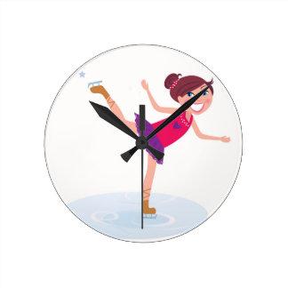 Ice skating kid on white round clock