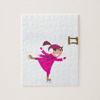 Ice skating kid pink jigsaw puzzle