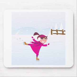 Ice skating kid pink mouse pad