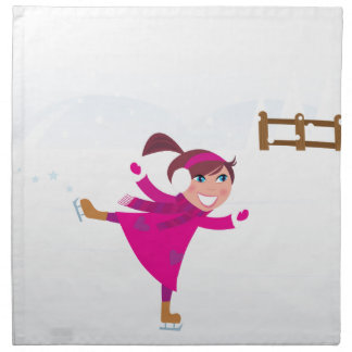 Ice skating kid pink napkin
