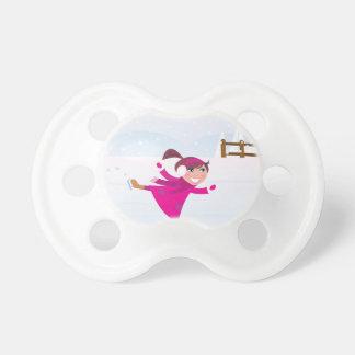 Ice skating kid pink pacifier