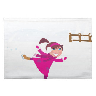 Ice skating kid pink placemat