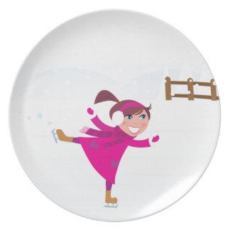 Ice skating kid pink plate