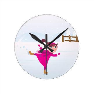 Ice skating kid pink round clock