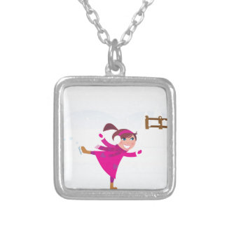Ice skating kid pink silver plated necklace