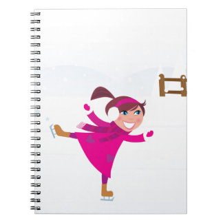 Ice skating kid pink spiral notebook