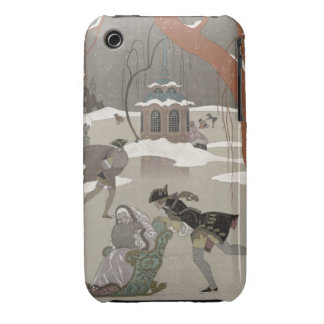 Ice Skating on the Frozen Lake,  illustration for iPhone 3 Cover