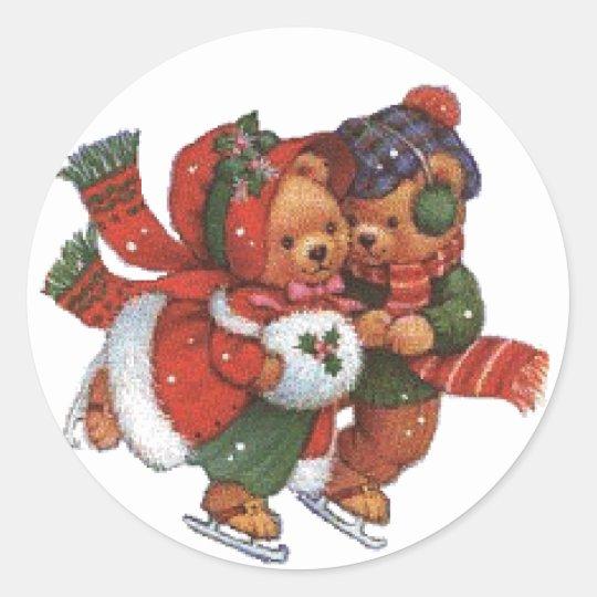 ice Skating Pair Classic Round Sticker