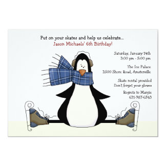 Ice Skating Party Blue Invitation
