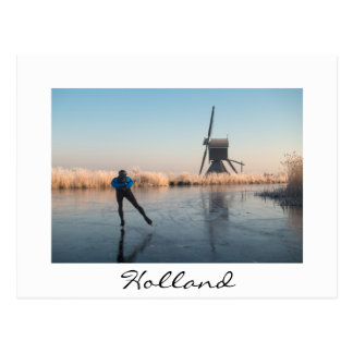 Ice skating past windmill and reeds white postcard