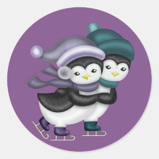 Ice Skating Penguins Classic Round Sticker