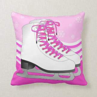 Ice Skating Pink with Snowflakes Reversible Throw Pillow