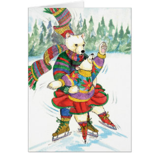 Ice Skating Polar Bears Card