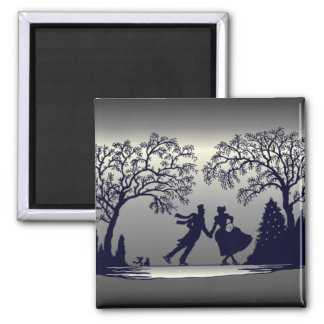 Ice Skating Pond - Silhouette Magnet