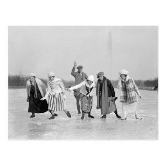 Ice Skating Race, 1925 Postcard
