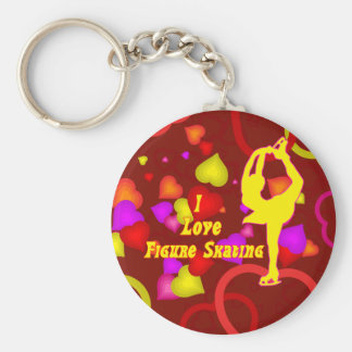 Ice Skating Retro Design Keychain