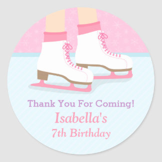 Ice Skating Rink Girls Birthday Party Decor Classic Round Sticker