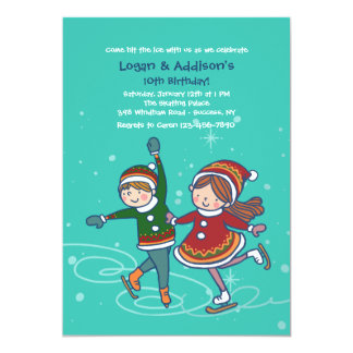 Ice Skating Siblings Invitation
