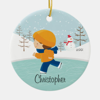 Ice Skating Skater Boy Dated Christmas Ornament