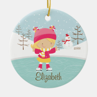 Ice Skating Skater Girl Dated Christmas Ornament