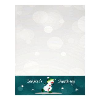 Ice Skating Snowman Christmas Letter Paper Custom Letterhead