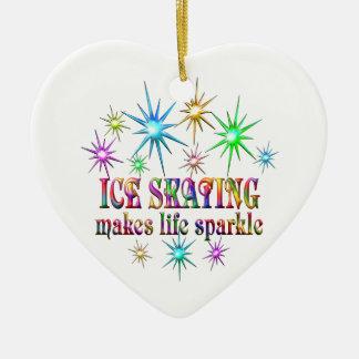 Ice Skating Sparkles Ceramic Heart Ornament