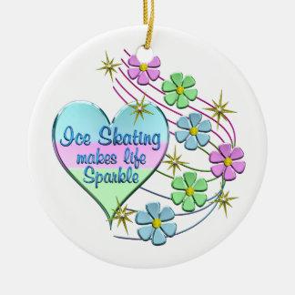 Ice Skating Sparkles Ceramic Ornament