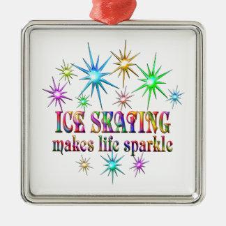Ice Skating Sparkles Silver-Colored Square Ornament