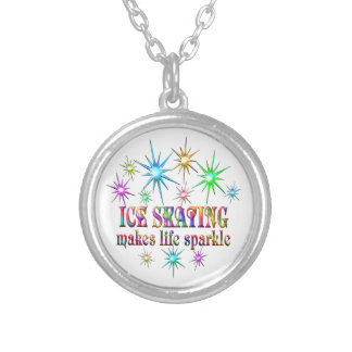 Ice Skating Sparkles Silver Plated Necklace