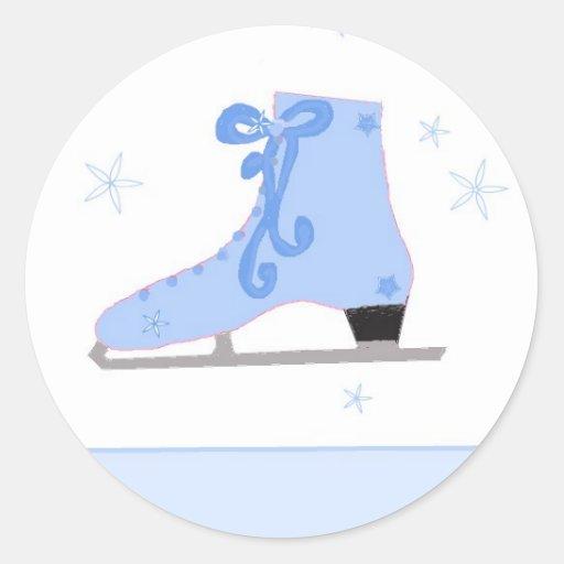 Ice Skating Round Stickers