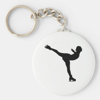 Ice Skating Woman Silhouette Basic Round Button Keychain
