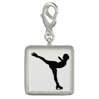 Ice Skating Woman Silhouette Charm