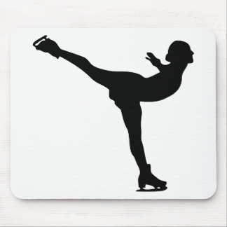 Ice Skating Woman Silhouette Mouse Pad