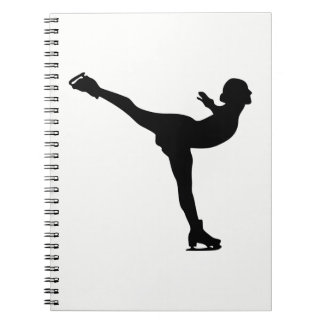 Ice Skating Woman Silhouette Spiral Notebooks