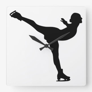 Ice Skating Woman Silhouette Square Wall Clock