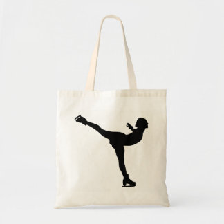 Ice Skating Woman Silhouette Tote Bag
