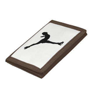 Ice Skating Woman Silhouette Tri-fold Wallets