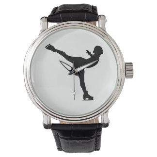 Ice Skating Woman Silhouette Wristwatches