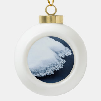 Ice, snow and moving water ceramic ball christmas ornament